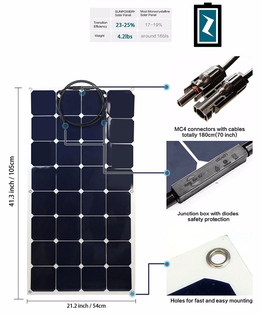 Flexible Solar Panel 12v Sunpower Kits For Rv Marine Car Roof Hovall Wiring Diagrams 12 Volt